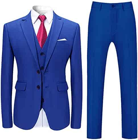 eb8c9f33cf95 Mens Stylish 3 Piece Dress Suit Classic Fit Wedding Formal Jacket & Vest &  Pants