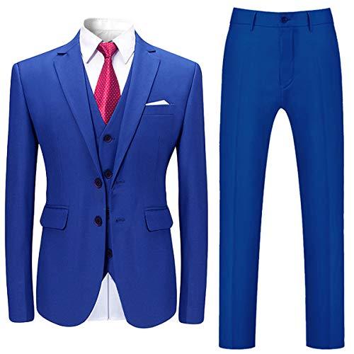 Mens Stylish 3 Piece Dress Suit Classic Fit Wedding Formal Jacket & Vest & Pants Royal Blue