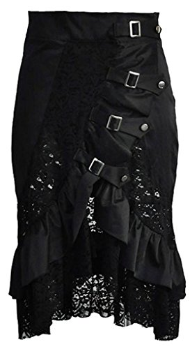 Alivila.Y Fashion Womens Vintage Steampunk Victorian Goth Lace Skirt - Victorian Goth