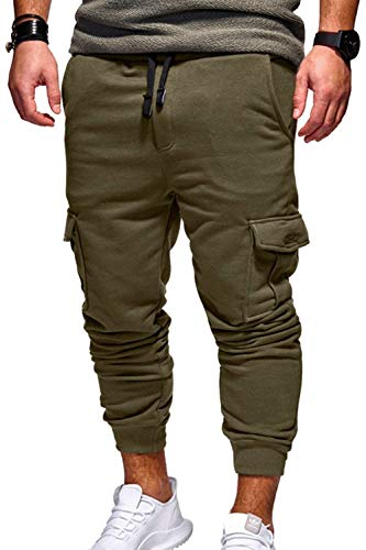 Confortables Casual Simple Grüne Multi Tailles Élastique Vêtements Survêtement Pantalons One Pocket Pantalon Jogger Sport Mode De q4xSpwPPY