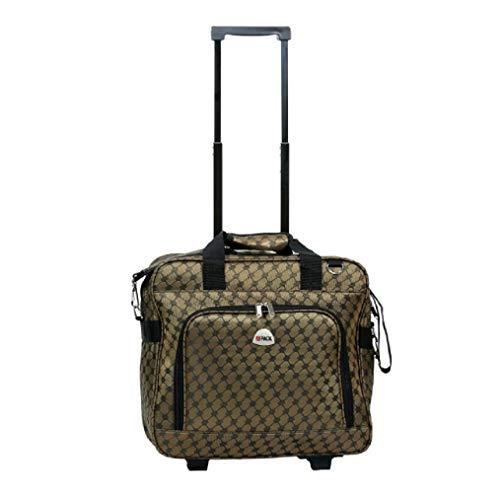 "16"" Computer/Laptop Ipad Bag Rolling Shoulder Travel Case Carryon Wheel (Brown)"