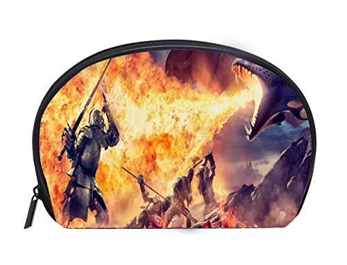 Portable Toiletry Cosmetic Bag Medieval Knights With Weapons Attacked By Fire Breathing Dragon Travel Cosmetic Case Luxury Makeup Artist ()