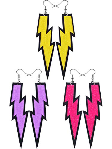Gejoy 3 Pairs Women Fashion Retro Neon Earrings for 80s Party or Retro Costume Party (3 Color C)