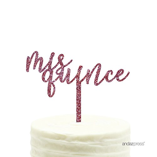 Andaz Press Birthday Acrylic Cake Toppers, Pink Glitter, Mis Quince, 1-Pack, Sweet 15 Quinceanera Decor Decorations -