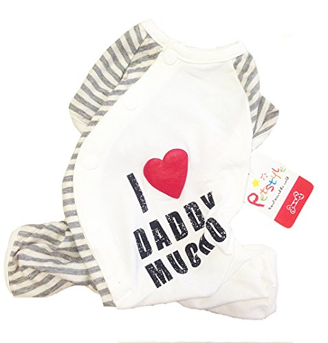 BBEART Dog Pajamas, I Love Daddy & Mummy Pet Dog Cotton Clothes Puppy Jumpsuit Small Dogs Apparel Costume Onesie Pajamas (Daddy, M)