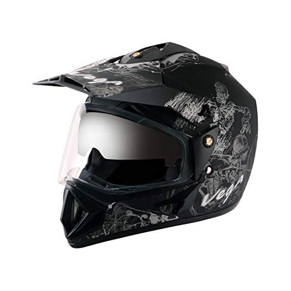 Vega - OR-D/V-SKT-DKS_M Off Road D/V Sketch Dull Black Silver Helmet-M