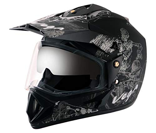 Vega Off Road Sketch Dull Black Silver Helmet