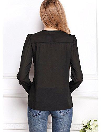 Minetom Mujeres Ocasionales Piezas de Cobre Manga Larga Boton de La Gasa Cuello En V Dobladillo Camisas Tapas T-Shirt Negro