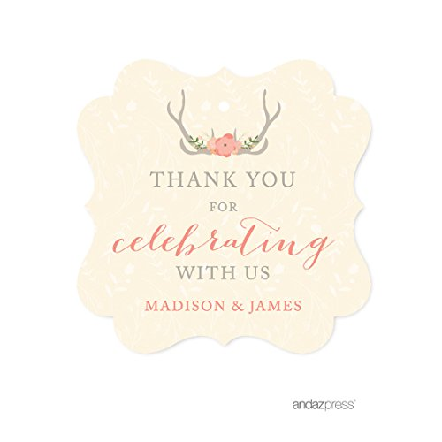 Andaz Press Woodland Deer Wedding Collection, Personalized Fancy Frame Gift Tags, Thank You for Celebrating With Us, 24-Pack, Custom Name by Andaz Press