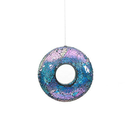 A Ting Garden Hanging Bird Feeder Mosaic Circle for Outdoor Decoration,Blue