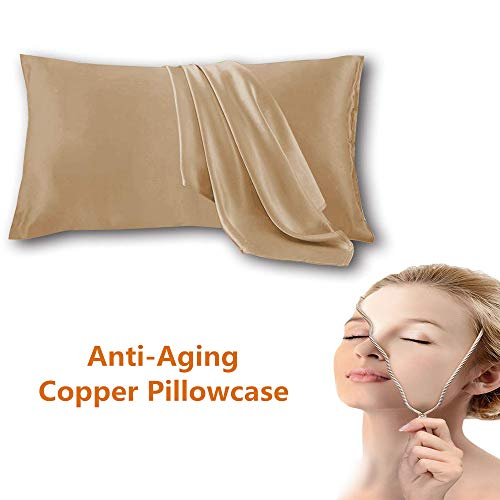 Copper Pillowcase for Fine Lines/Wrinkles Reduction & Hair Smoothing Made of 100% Copper Oxide Fiber,Natural bacteriostatic,anti-aging for Sleeping Acne Prone Skin(cooper pillowcase 1pc)