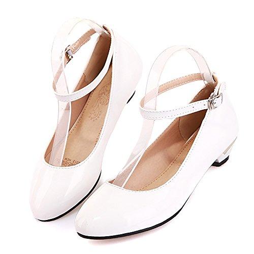 COOLCEPT Moda Mujer Tacon Bajo Al Tobillo Bombas Zapatos Dulce Comodo Zapatos for Colegio Chicas Blanco