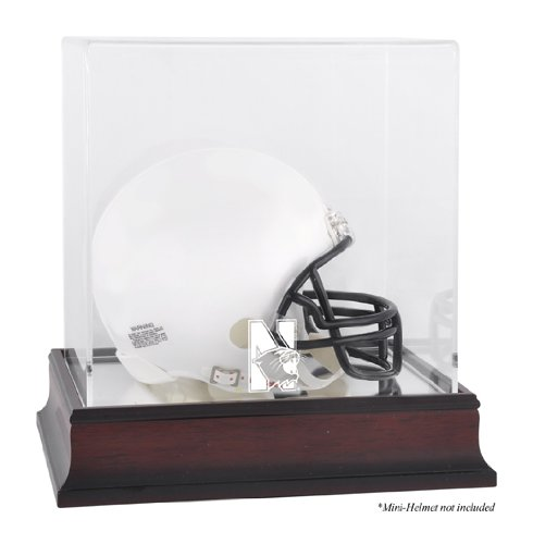 Northwestern Wildcats Logo Mini Helmet Display Case | Details: Mahogany, Mirror - Authentic Mini Helmet Wildcats Northwestern