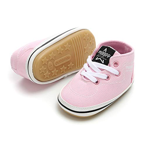 Baby Girls Boys Canvas Shoes Soft Sole Toddler First Walker Infant High-Top Ankle Sneakers Newborn Crib Shoes (L: 5.12 inch(12-18 Months), D - Pink)