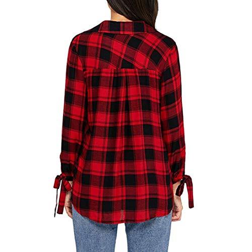 Treillis Blouse Rouge Chemise Chic Longues Carreaux Manches Tops Pull Sexy Femmes Imprim Sweatshirt x6qUwBC