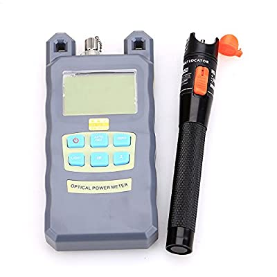 Fiber Optical Power Meter with 10mW 10KM Visual Fault Locator Fiber Optic Cable Tester Checker Test Tool for CATV Telecommunications Engineering Maintenance