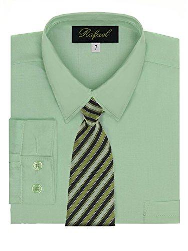 Boy's Dress Shirt & Tie - Pastel Green, 4