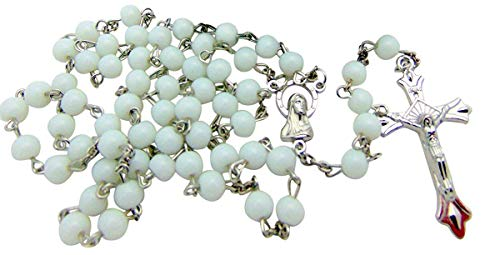 Pack of 10 Rosaries Set Bulk Rosary Lot with White Beads for Students Classroom