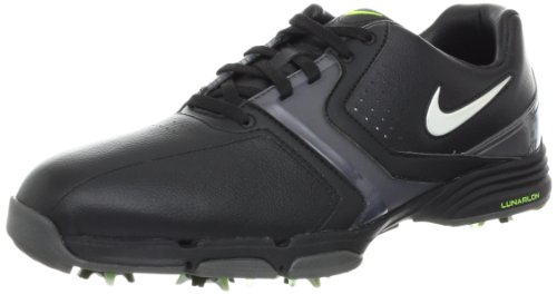 NIKE Golf Men's NIKE Lunar Saddle Wide Golf Shoe, Black/Metallic Dark Grey/Volt/Metallic Silver, 8 2E US