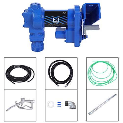 Genuine store 12V 20 GPM Explosion-Proof Fuel Transfer Pump with Manual Nozzle, Discharge Hose, Suction Pipe - US Standard Electric Gasoline Pump - Fuel Supply Device ()