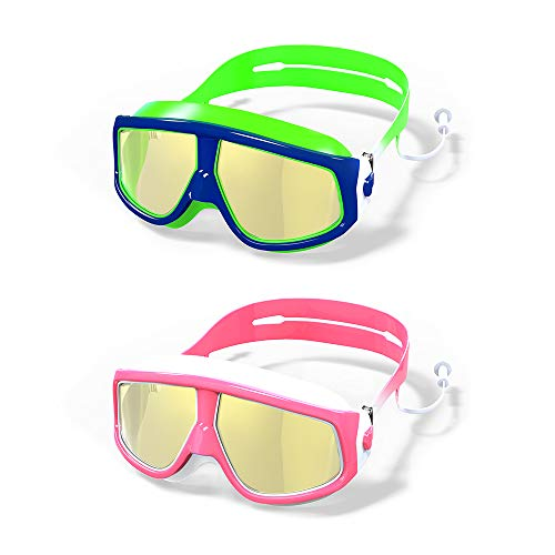 MOTOEYE Kids Swim Goggles Pack of 2,for Children and Early Teens,Boys and Girls from 3 to 15 Years Old,UV Protection ()