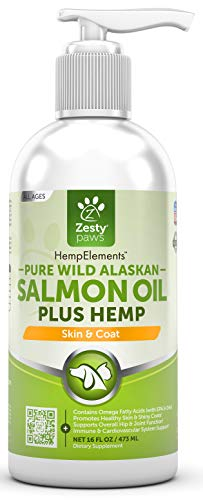 Pure Wild Alaskan Salmon Oil with Hemp for Dogs & Cats - Omega 3 & 6 Fish Oil Pet Supplement with EPA & DHA - Anti Itching Skin & Coat Care + Hip & Joint Health - Heart & Immune Support - 16 FL OZ ()