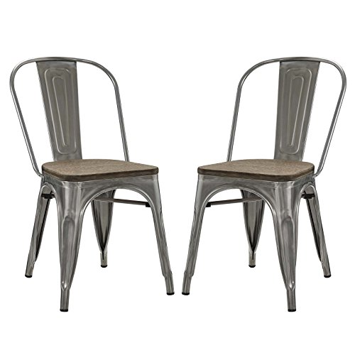 Modway Promenade Stackable Modern Aluminum Two Bistro Dining Side Chair Set With Bamboo Seat in Gunmetal -