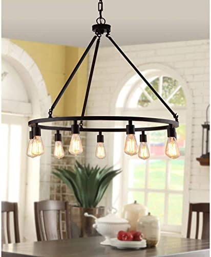 Rustic Chandelier Centerpiece With Bulbs For High And Low Ceiling Rooms Circular Light Fixture With Industrial Accents Creates Modern Farmhouse Feel Bronze Pendant Lamp Provides Ample Lighting