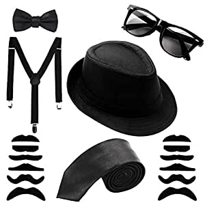 Aneco 1920S Gángster Disfraz,Negro Sombrero Gafas de sol Corbata Tirantes Bigotes Pajarita,Set de Accesorios Deluxe