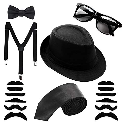 Aneco 6 Pack 1920s Set Fedora Gangster Hat Costume Accessory Sunglasses Suspenders Bow Skinny Tie (Black) -