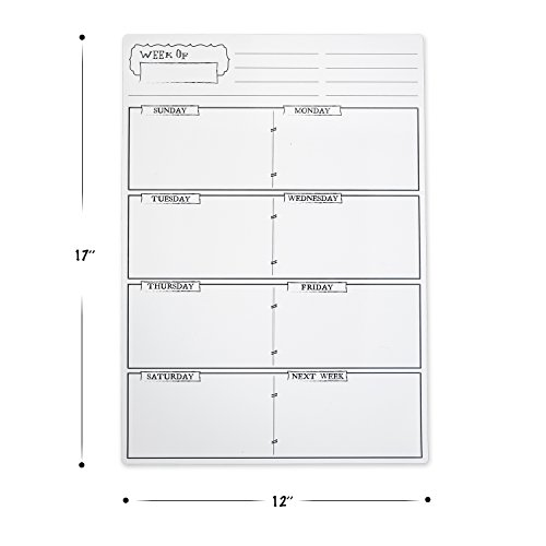 Magnetic Weekly Calendar For Refrigerator : Weekly magnetic refrigerator calendar with four dry erase