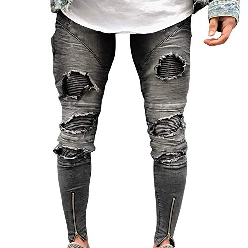 Denim Pants Uomo Distrutto Alla 1856 Fit Con Strappati Cuciture Jeans Skinny Moda Pantaloni Cerniera qwwPXfa