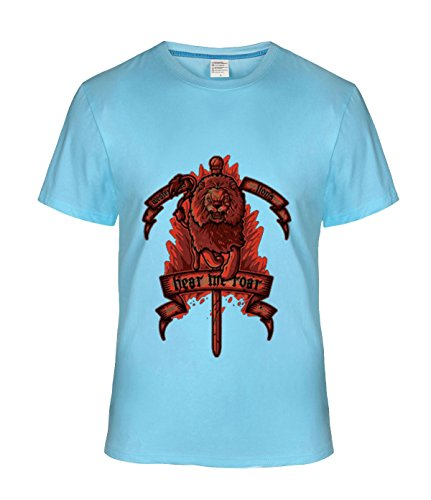[Fatal Decision Men's Hear My Roar Design Tee shirt skyBlue] (Mens Disco Jumpsuit)