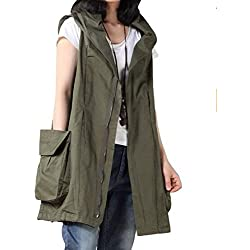 Mordenmiss Women's Sleeveless Coat Vest Hoodie Waistcoat Anoraks with Big Pockets Style 1 XXL Army Green
