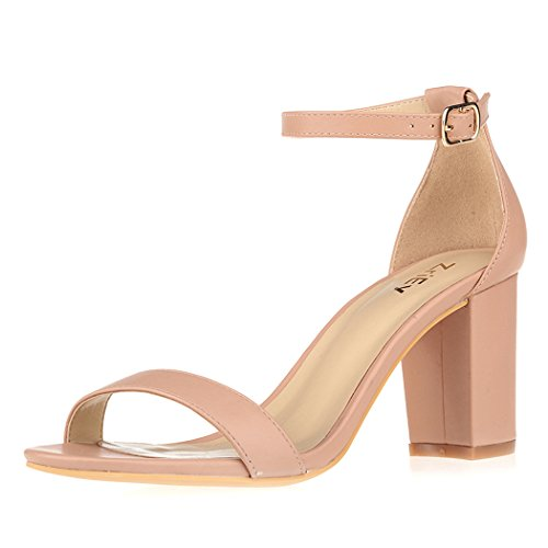 ZriEy Women's Chunky Block Strappy High Heel Sandals Ankle Band Classic Open Toe Shoes