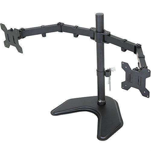 "WALI Free Standing Dual LCD Monitor Desk Mount Fully Adjustable Fits Two Screens up to 27"", 22 lbs per Arm Capacity, With Optional Grommet Base (WL-MF002)"