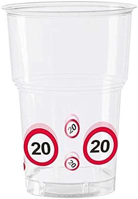 NET TOYS Vaso 20 cumpleaños señal de tráfico 350 ML ...