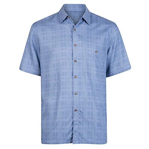 (Campia Men's Rayon Print Shirt (Tonal Printed Plaid Blue, M))