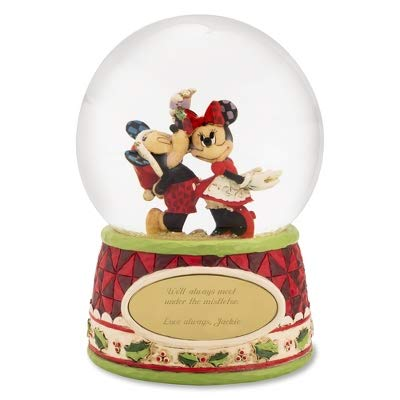 Holiday Mickey Personalized Mouse (Things Remembered Personalized Jim Shore Mickey and Minnie Mouse Mistletoe Snow Globe with Engraving Included)