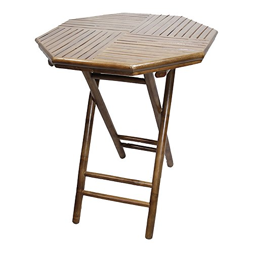 Heather Ann Creations Bamboo Octagon Folding Bistro Table with Slatted Wood Top, 30-Inch, ()