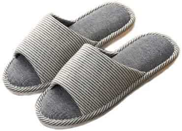 f57eb71752d0 GUSTA Comfy Open-Toe House Slipper Stripe Slip On Flax Sandals Indoor  Slippers