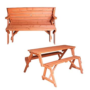 FoxHunter Garden Wooden Folding Picnic Table Bench 2 In 1 With Parasol Hole Outdoor Furniture New