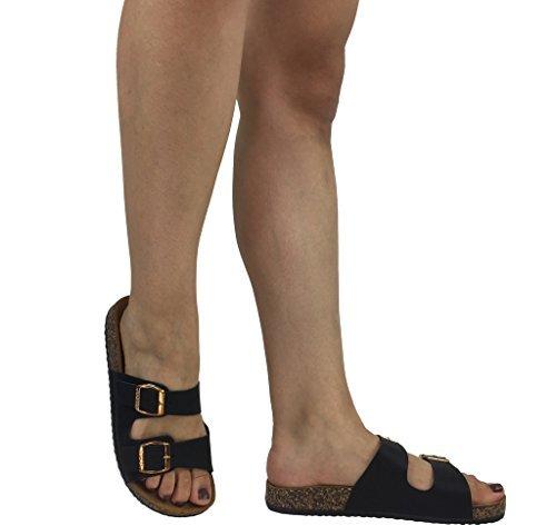 Annas Fashion Anna Women's Double Strap Cork Sole Slide Sandal with Buckle