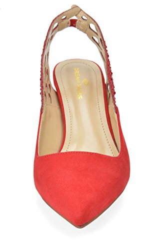 Slingback Pointed Dream Heel Dress Kitten Shoes Red Toe Women's Pump Wings Pairs qTfSTt