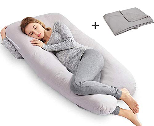 Ang Qi Full Pregnancy Body Pillow, U Shaped Maternity Pillow for Back Pain Relief and Pregnant Women, with Washable Cotton Cover, 56-inch, Ashy