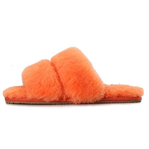 Sheep Touch Womens DAISY Sheepskin Fluff Slippers Open Toe Orange UDQpEi