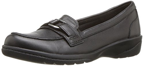 CLARKS Women's Cheyn Marie Slip-On Loafer, Black Leather, 8.5 M US