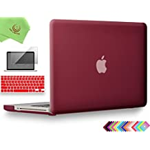 """UESWILL 3in1 Smooth Soft-Touch Matte Hard Shell Case Cover for MacBook Pro 13"""" with CD-ROM (Non-Retina)(Model:A1278) + Keyboard Cover and Screen Protector + Microfibre Cleaning Cloth, Wine Red"""