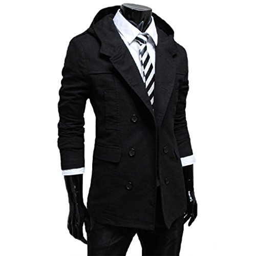 Raylans Men's Solid Double Breasted Hoodies Overcoats Trench Coat Windbreaker Jacket Black