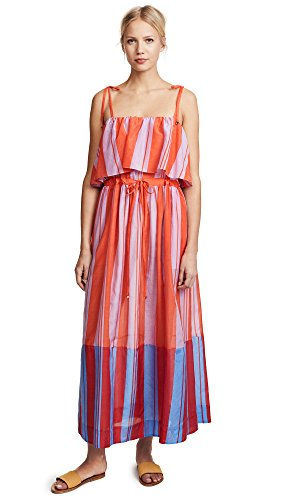 Diane von Furstenberg Women's Sleeveless Pleated Maxi Dress, Harling Stripe Multi, Large